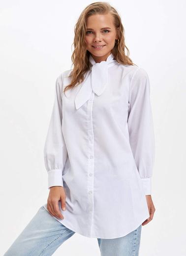 DeFacto Yaka Detaylı Uzun Tunik Beyaz